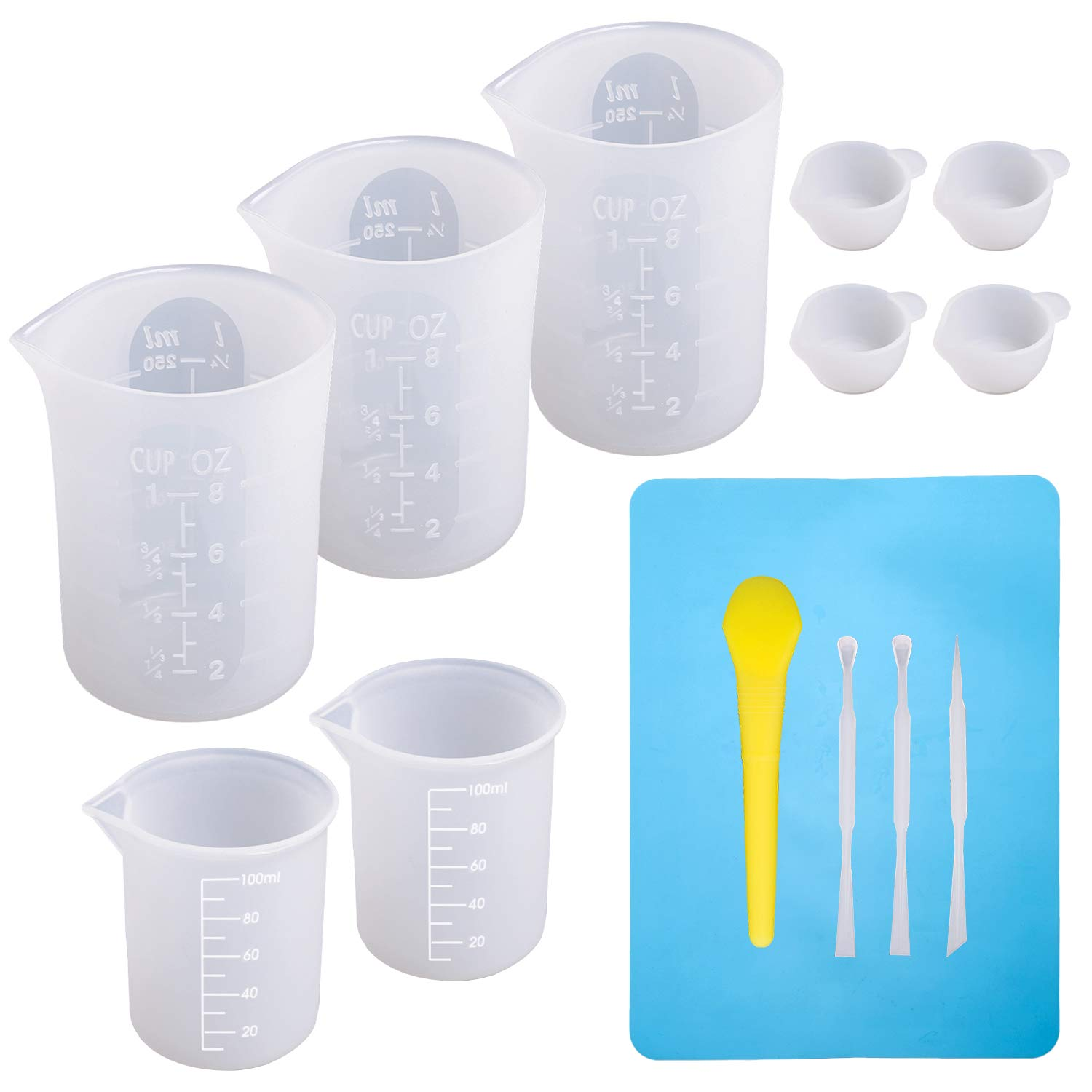 Large Silicone Measuring Cups and Tools Set Silicone Mixing Cups Stir Sticks Spoons Silicone Mat for Epoxy Resin Casting DIY Slime Art Making Waxing Kitchen by DECYOOL