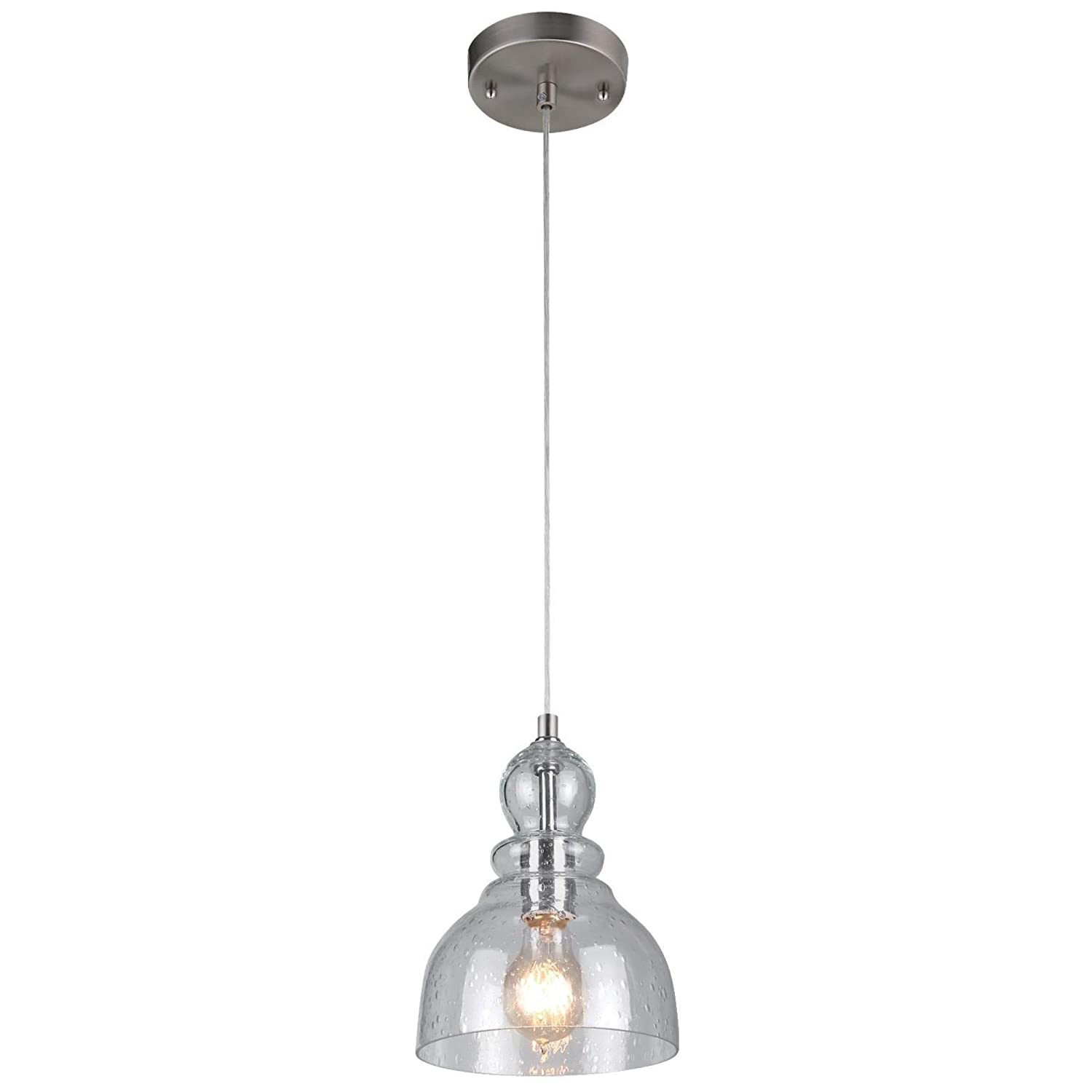 Westinghouse 6100700 One-Light Indoor Mini Pendant, Brushed Nickel Finish with Clear Seeded Glass