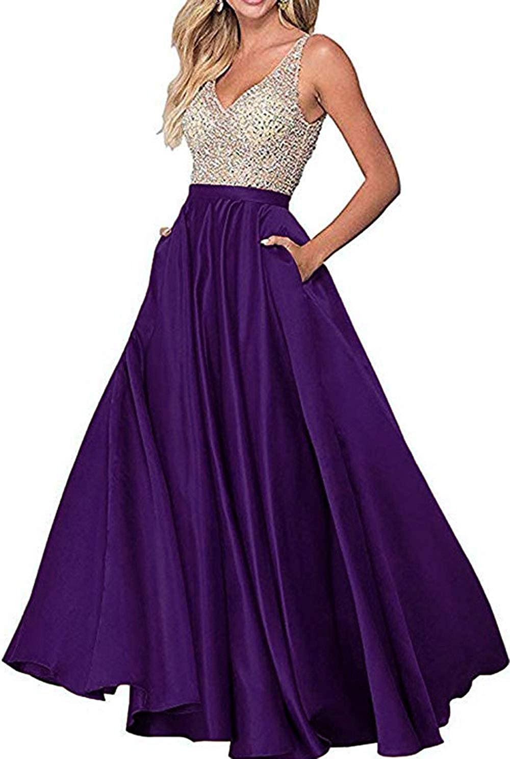 Dark Purple Rmaytiked Womens VNeck Beaded Bodice Long Prom Dresses A Line Satin Formal Evening Ball Gowns with Pockets 2019 New
