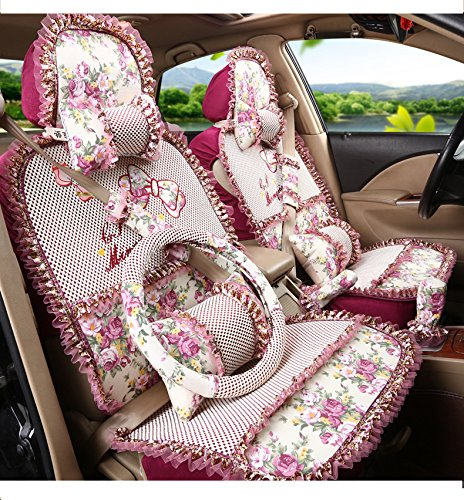 Moonet Universal Front Rear Classic Small Flowers Ice Silk Car Bucket Seat Covers Cushions Full Set 11pcs Red