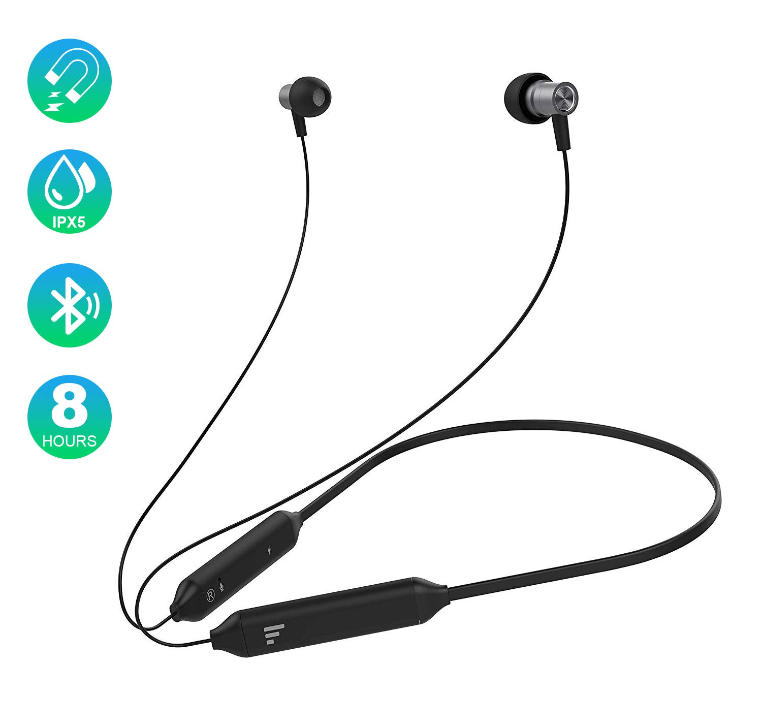 [Newest 2019] Bluetooth Earbuds, Fantany Ultra Slim Mini in-Ear Headphones Hi-Fi Stereo Deep Bass Headsets with Mic aptX Magnetic Light Neckband Earphones for Sports Runners