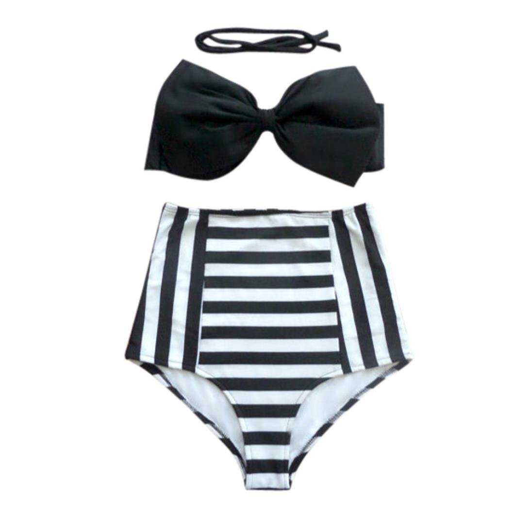 82745996ee Amazon.com : HP95(TM) Womens Vintage Bikini Set High Waist Padded Bra  Stripe Swimwear Swimsuit with Bowknot (M, Black+White) : Beauty