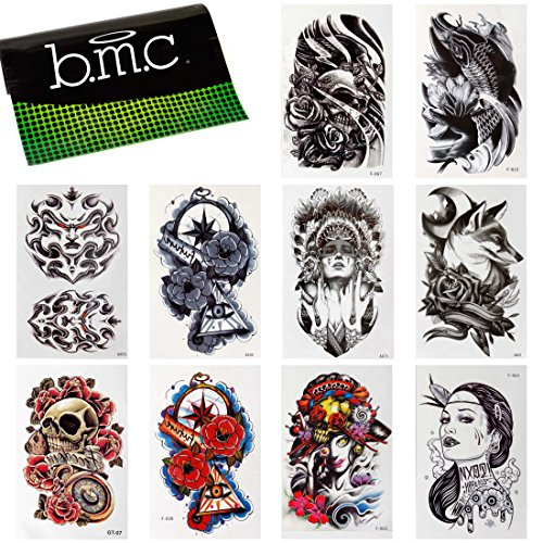 BMC 10pc Stylish Large Statement Temporary Water Transfer Fashion Tattoos Set - Bad to the Bone ()