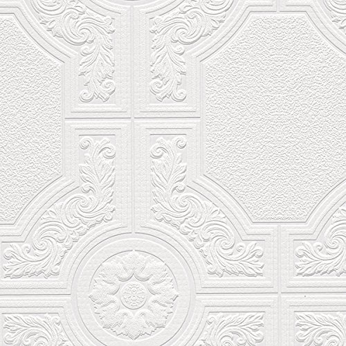 """Manhattan comfort NW48929 Brooklyn Series Vinyl Textured Paintable Floral Square Design Large Wallpaper Roll, 21"""" W x 33' L, White"""