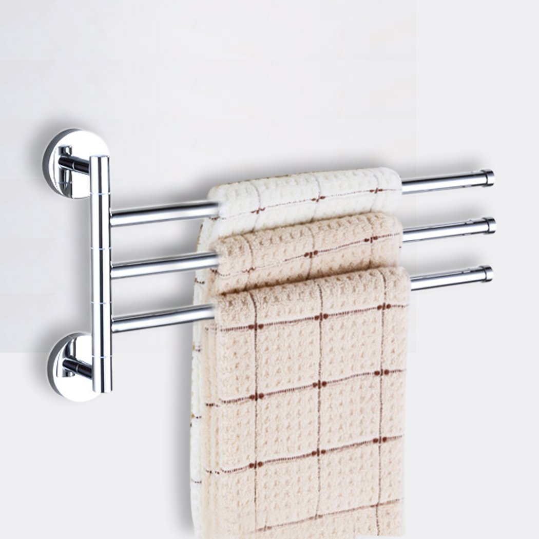 PHOEWON Swivel Towel Rail Chrome Stainless Steel Bath Rack Wall