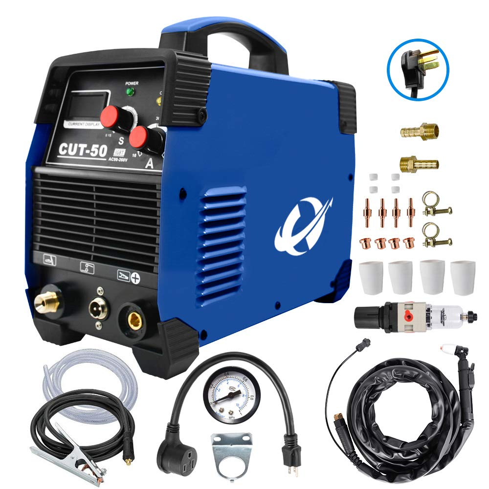 Plasma Cutter, CUT50 50 Amp 110V/220V Dual Voltage AC DC IGBT Cutting Machine with LCD Display and Accessories Tools by CORAL
