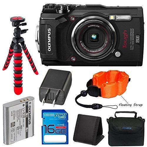 دوربین ضد آب Olympus TG-5 با LCD 3 اینچی (سیاه) با کارت SD SD I3ePro 16GB Class 10 ، کیس دوربین و بسته نرم افزاری جانبی