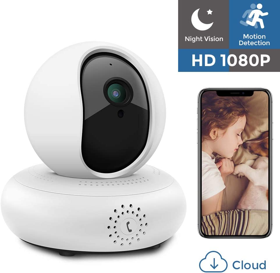 IP Camera 1080P HD WiFi Security Camera Wireless Home Surveillance Camera Indoor Pet Baby Camera with Night Vision Two-Way Audio PTZ, 2.4Ghz Dome Camera, Remote Monitor MicroSD Slot, iOS Cloud