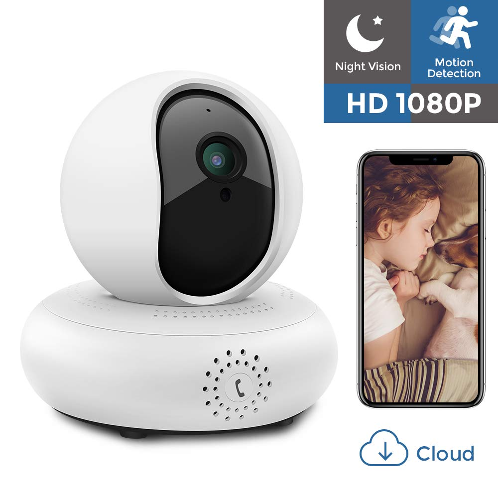 IP Camera 1080P HD Wifi Security Camera Wireless Home Surveillance Camera Indoor Pet Baby Camera with Night Vision/Two-way Audio/PTZ, 2.4Ghz Dome Camera, Remote Monitor with MicroSD Slot, iOS, Cloud