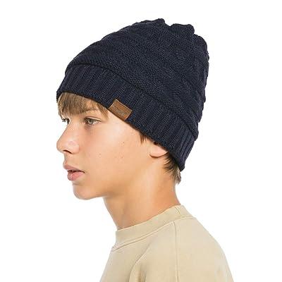 Kids Children Knitted Wooly Beanie Hat Warm Winter Ski Skull Cap Black Navy Red