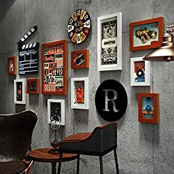 LQQGXL Vintage industrial wind home picture frame wall clock decoration creative photo wall living room background wall composition photo frame Photo frame (Color : Hu Bai)