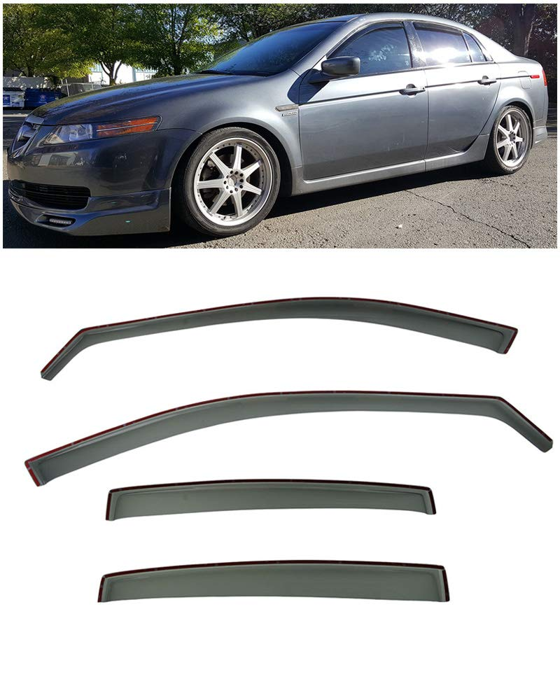 Extreme Online Store Eos Visors in-Channel Style Smoke Tinted Side Window Visors Rain Guard Deflectors for 2004-2008 Acura TL