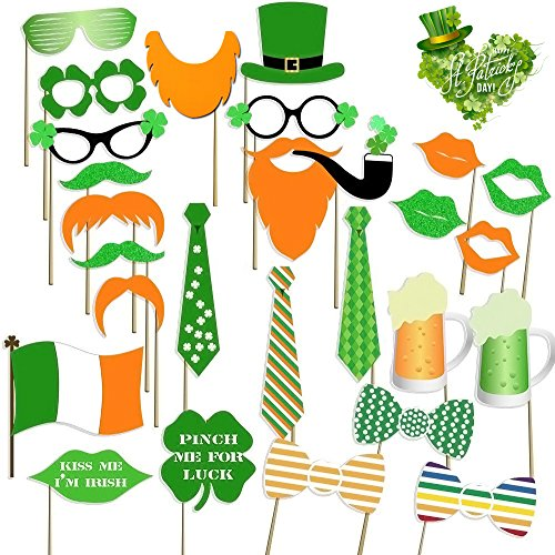 St Patrick's Photo Booth Props Irish Day Party Decorations Photo Props 27pcs Funny Creative Toy St. Patrick's Party Favors