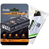 FENIX E03R USB Rechargeable 260 Lumen LED keychain flashlight with, EdisonBright brand USB charging cable bundle