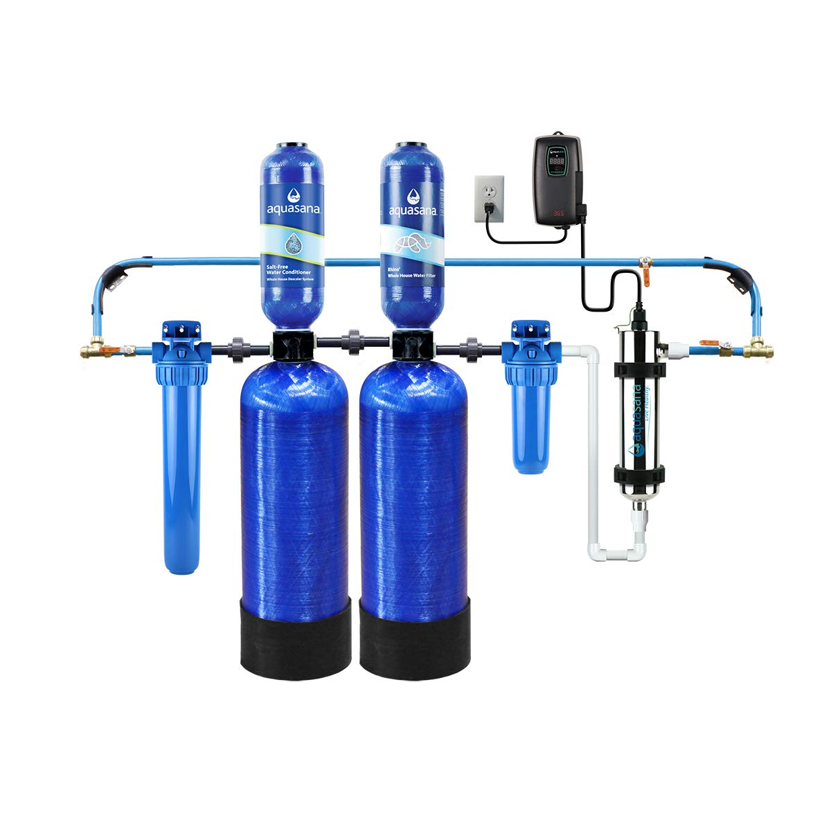 Aquasana Whole House Well Water Filter System w/ UV Purifier & Salt-Free Descaler - Filters Sediment & 97% Of Chlorine