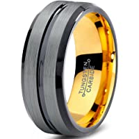 Tungsten Wedding Band Ring 6mm for Men Women Black Rose Yellow Gold Plated Beveled Edge Brushed Polished