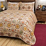 3pc Beige Yellow Red French Country Inspired Quilt Full Queen Set, Elegant Geometric Medallion Flower Themed Polka Dot Pattern, Burgundy, Vintage Floral Bedding