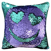 "ICOSY Mermaid Pillow Case 16""x16"" Magic Reversible Sequins Pillow Covers (Teal Green/Purple)"