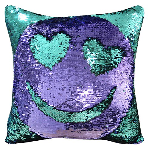 ICOSY Mermaid Pillow Case 16x16 Magic Reversible Sequins Pillow Covers (Teal Green/Purple)