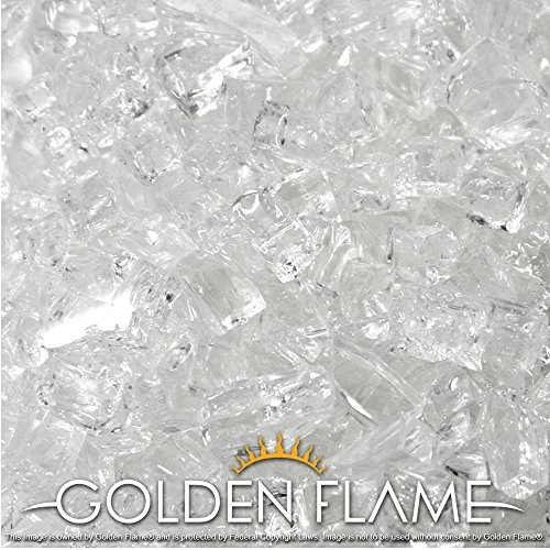 Fireplace Flame Glass Crystals (Golden Flame 10-Pound Fire Glass with Fireplace Glass and Fire Pit Glass, 1/2-Inch, Starfire Crystal Diamond)