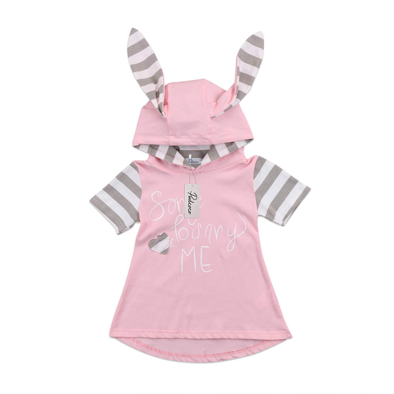 e8d370592a933 Amazon.com: Cute 3D Rabbit Ears Dress for Girl Baby Striped Short ...