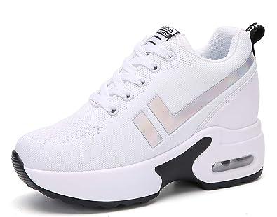 AONEGOLD Sneakers Zeppa Donna Scarpe da Ginnastica Basse Tennis Sportive Fitness Scarpe con Zeppa Interna Tacco 8.5 cm Casual Moda