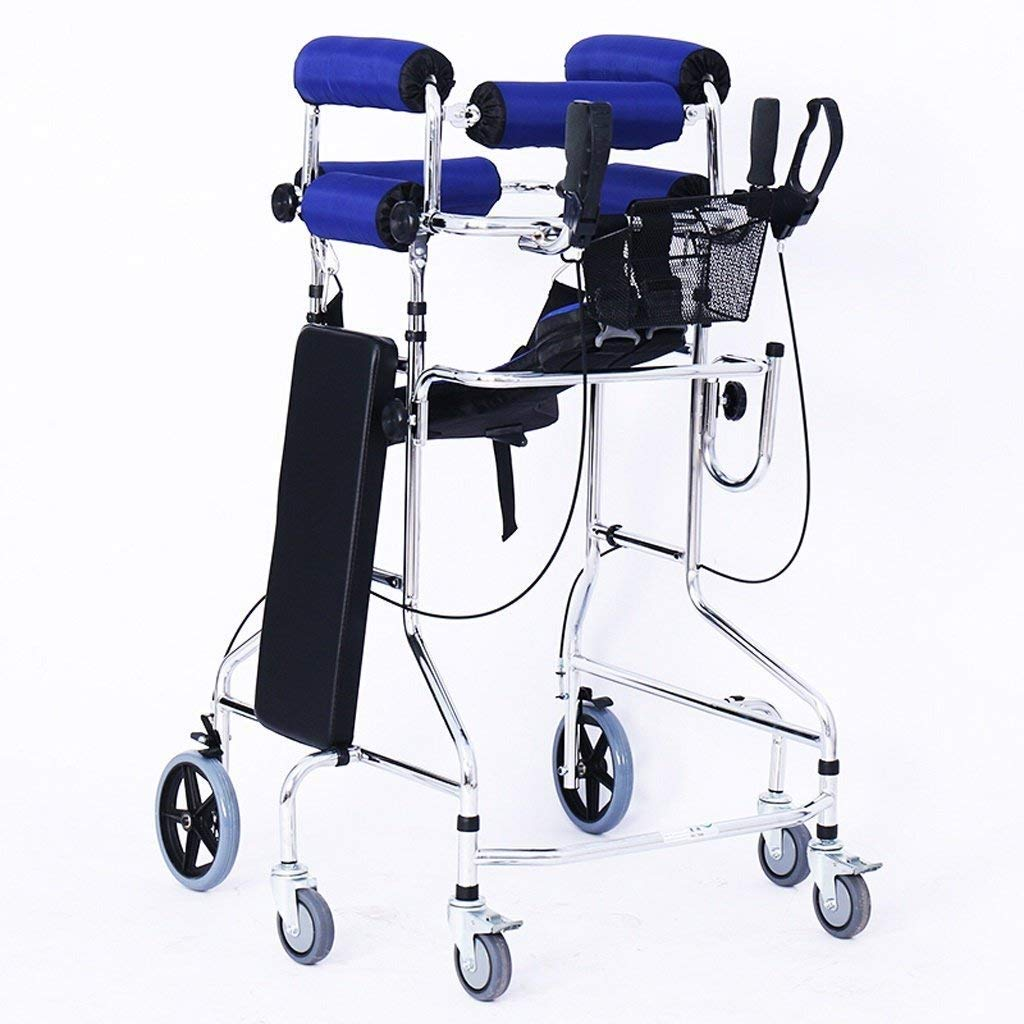 Folding Six-Wheel Roller Walker with Seat Adjustable Height Aluminum Walking Frame Suitable for Elderly Disabled Lower Limb Training Standard Walker Auxiliary Walking Safety Walker (Color : Blue) by YL WALKER (Image #1)