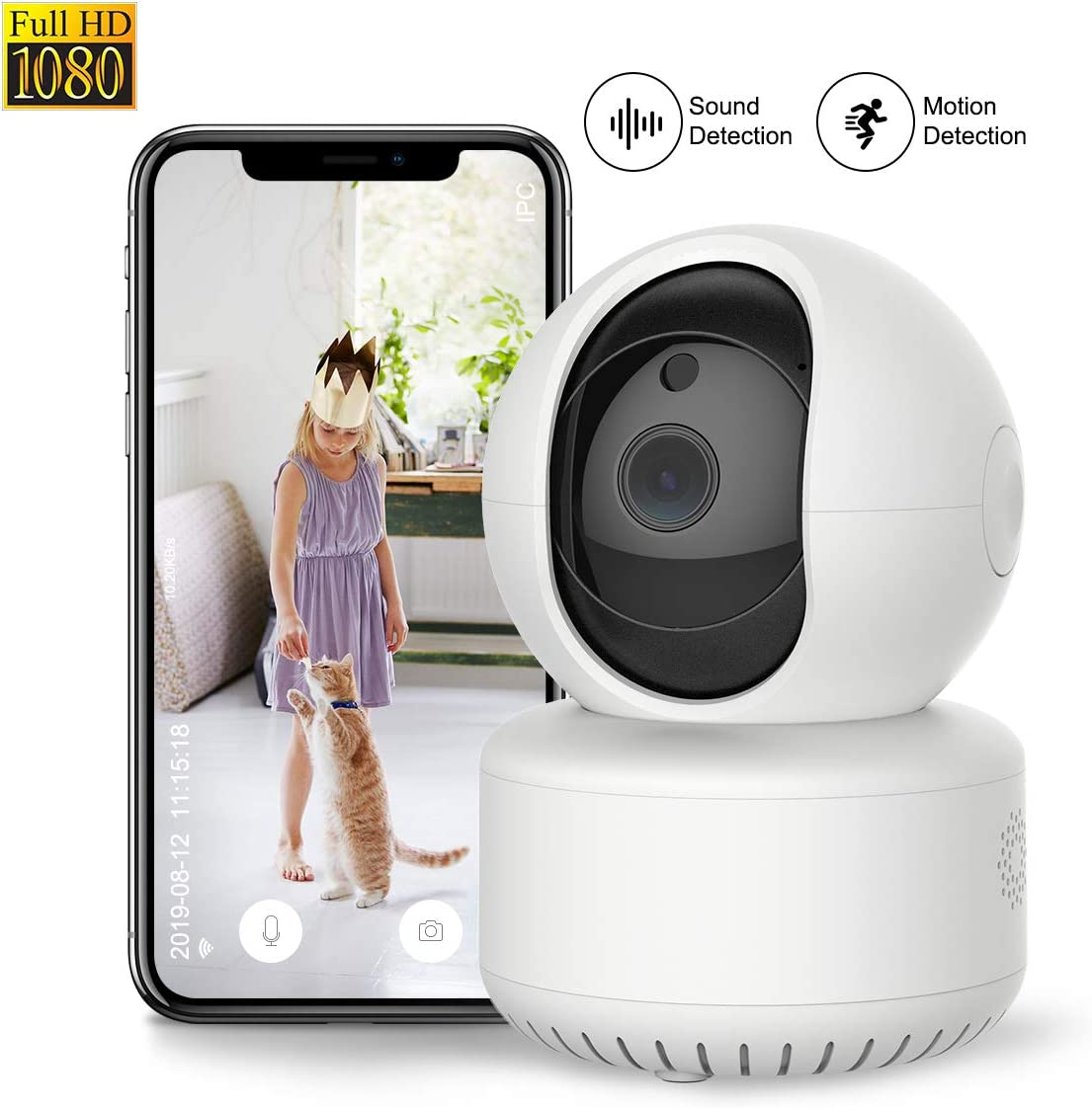 1080P WiFi Pet Camera FHD Indoor Wireless Surveillance Security IP Camera with Motion Detection Night Vision 2-Way Audio Cloud Storage for Baby Elder Pet Monitor with Camera Dome Surveillance Cameras