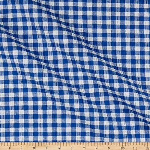 (Fabric Stretch Seersucker Plaid Fabric, Royal/White, Fabric By The Yard)