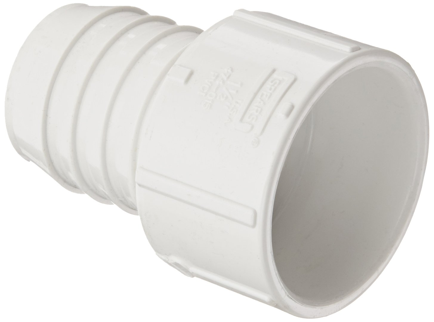 """Spears 474 Series PVC Pipe Fitting, Adapter, Schedule 40, White, 1-1/2""""Barbed x 1-1/2"""" Socket"""