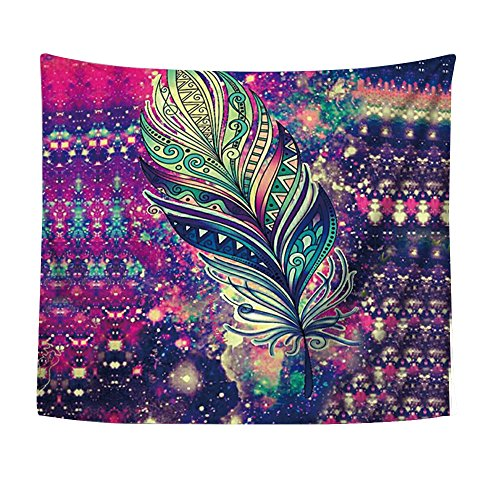 Alicemall Bohemian Colorful Feather Tapestry Boho Beach...