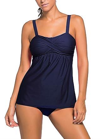 Colfeel Damen Bikini Set Badeanzug Zweiteilig Tankini Schwimmanzug Bauchweg  Bademode Strandmode Bikini Oberteile + Höschen  Amazon.de  Bekleidung 11e21f87cd
