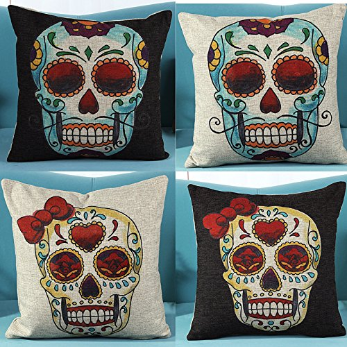4 PCS 18'' Retro Black Colorful Bow Mexican Day of the Dead Sugar Skull Linen Pillow Cushion Covers 4KD5 ()