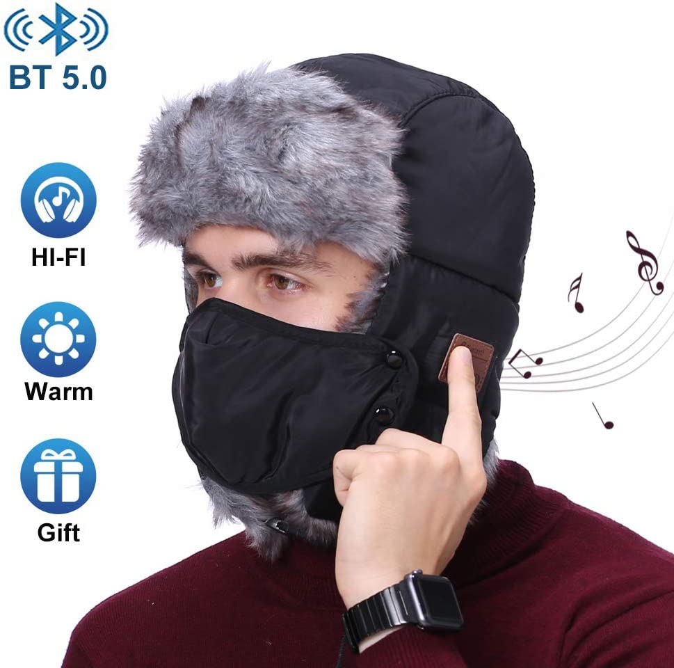 Bluetooth Hunting Hat Winter Trapper Trooper Hat Soft Warm Hat with Windproof Mask, Built-in HD Stereo Speakers Microphones for Outdoor Sports, Unique Christmas Tech Gifts for Men Women