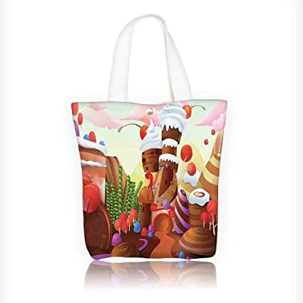 Amazon Canvas Tote Handbag Charlies Chocolate Like Print With Lollipops Creams And Cakes Shoulder Bag Purses For Men Women Shopping W11xH11xD3