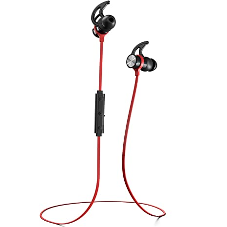 Phaiser BHS-730 Bluetooth Earbuds Runner Headset Sport Earphones with Mic and Lifetime Sweatproof Warranty - Wireless Headphones for Running, Redheat Mobile Phone Wired Headsets at amazon