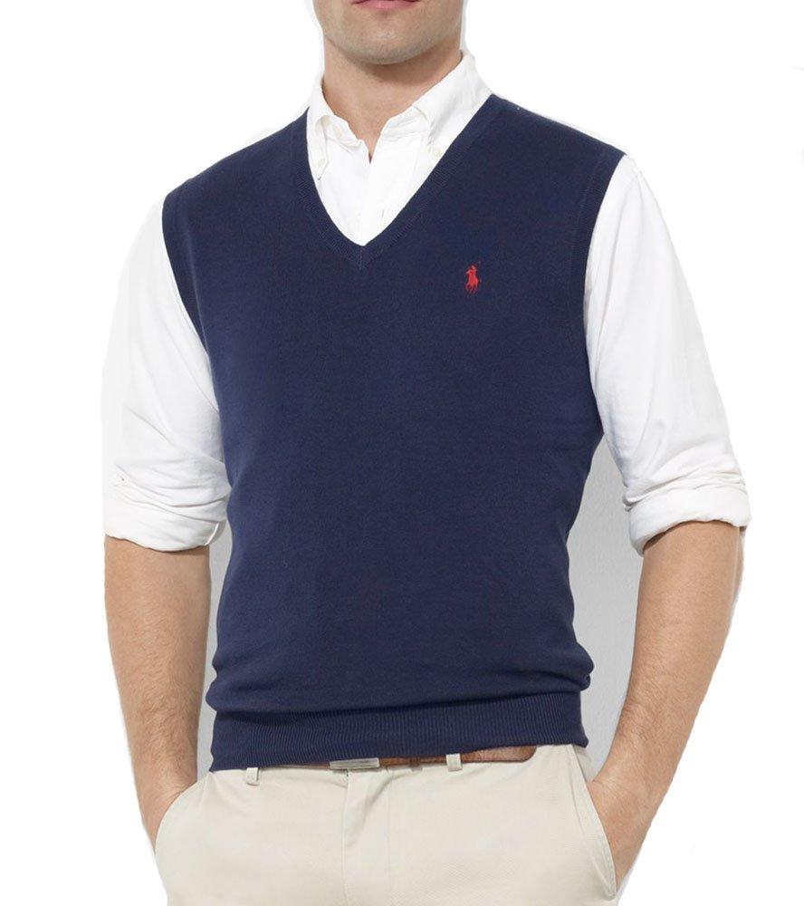 Polo Ralph Lauren Men's Pima Cotton Sweater Vest, Navy, X-Large