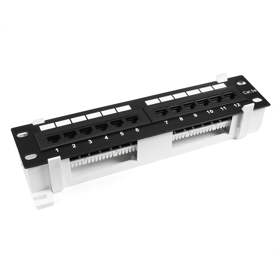 uxcell 12-Port Cat5E UTP Unsheilded Rackmount Network Patch Panel RJ45 Ethernet With Wallmount Bracket Black Compatible with 110 Punch Down Tools by uxcell