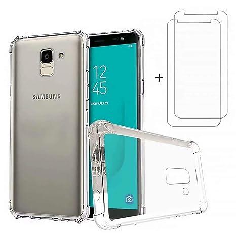 DYGG Compatible con Funda para Samsung Galaxy j6 2018, Carcasa Forro Transparente TPU Silicona Flexible Case+[2* Protector de Pantalla]