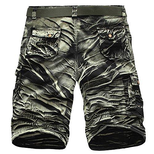 Hombres Cargo Corto De Multi-Bolsillo De Gran Tamaño Sueltos Pantalones Cortos Militares Shorts Ejercito Verde1