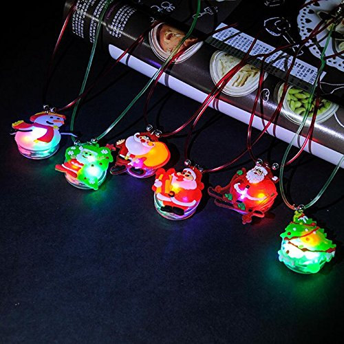 12 Pieces Christmas Lightning Soft Chain Necklace, Flashing Santa Claus Snowman Christmas Tree LED Pendant Necklaces for Kids Party Favors Christmas Decoration, Random (Holiday Flashing Necklace)