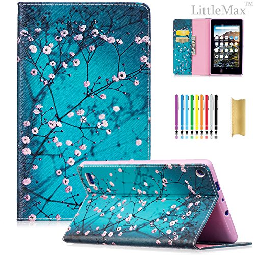LittleMax(TM) Fire 7 Case,Colorful Leather Case Kickstand Soft Gel Protective Case with [Card Slot] for Amazon Fire 7 Inch 7th Generation (2017 Release)-01 Peach Flower