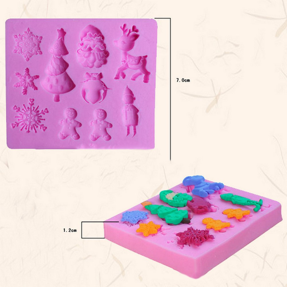 Fablcrew Cake Mould Christmas Tree Deer Santa Claus Chocolate Cake Jelly Ice Silicone Baking Mold