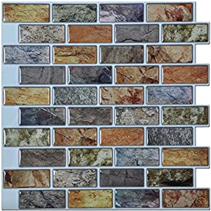 "Art3d 10-Piece Peel & Stick Kitchen/Bathroom Backsplash Sticker, 12"" X 12"" Faux Ceramic Tile Design"