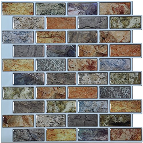 Art3d 10-Piece Peel & Stick Kitchen/Bathroom Backsplash Sticker, 12