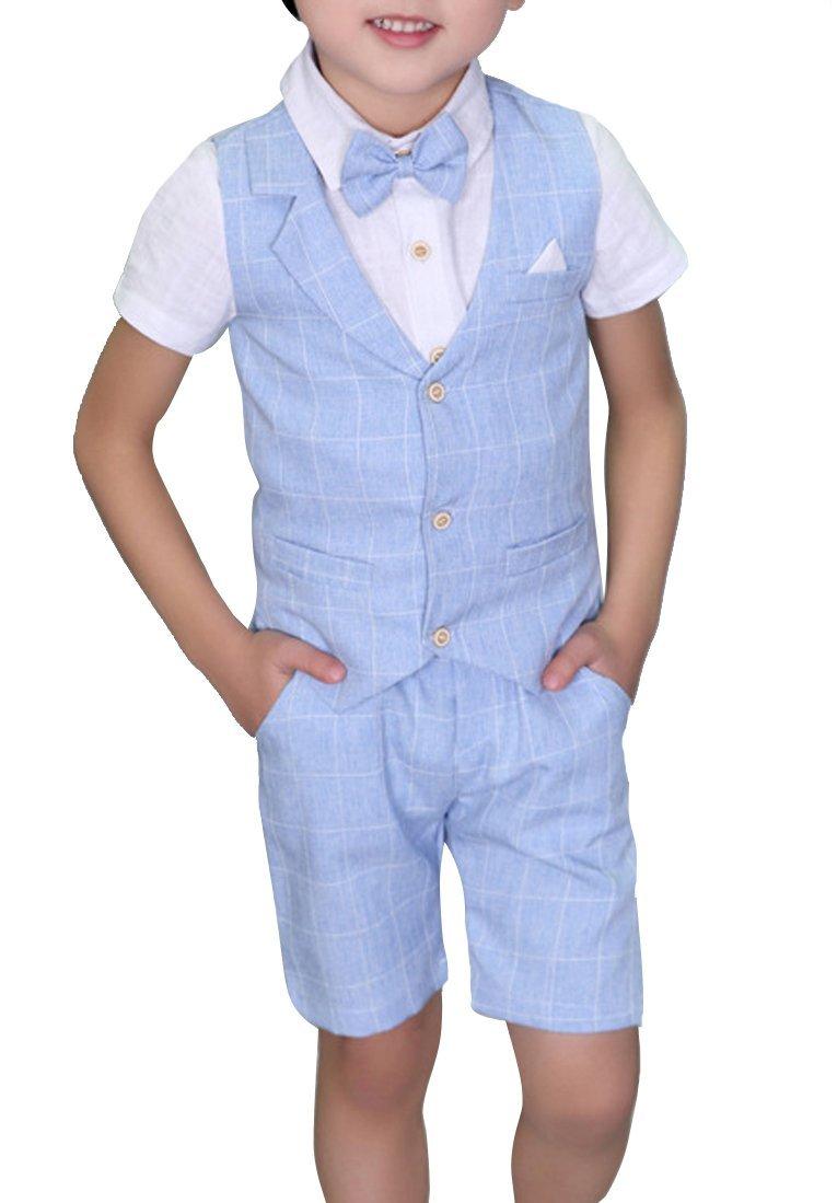 Boys Plaid Summer Suits Vest Set 3 Pieces Shirt Vest (6)