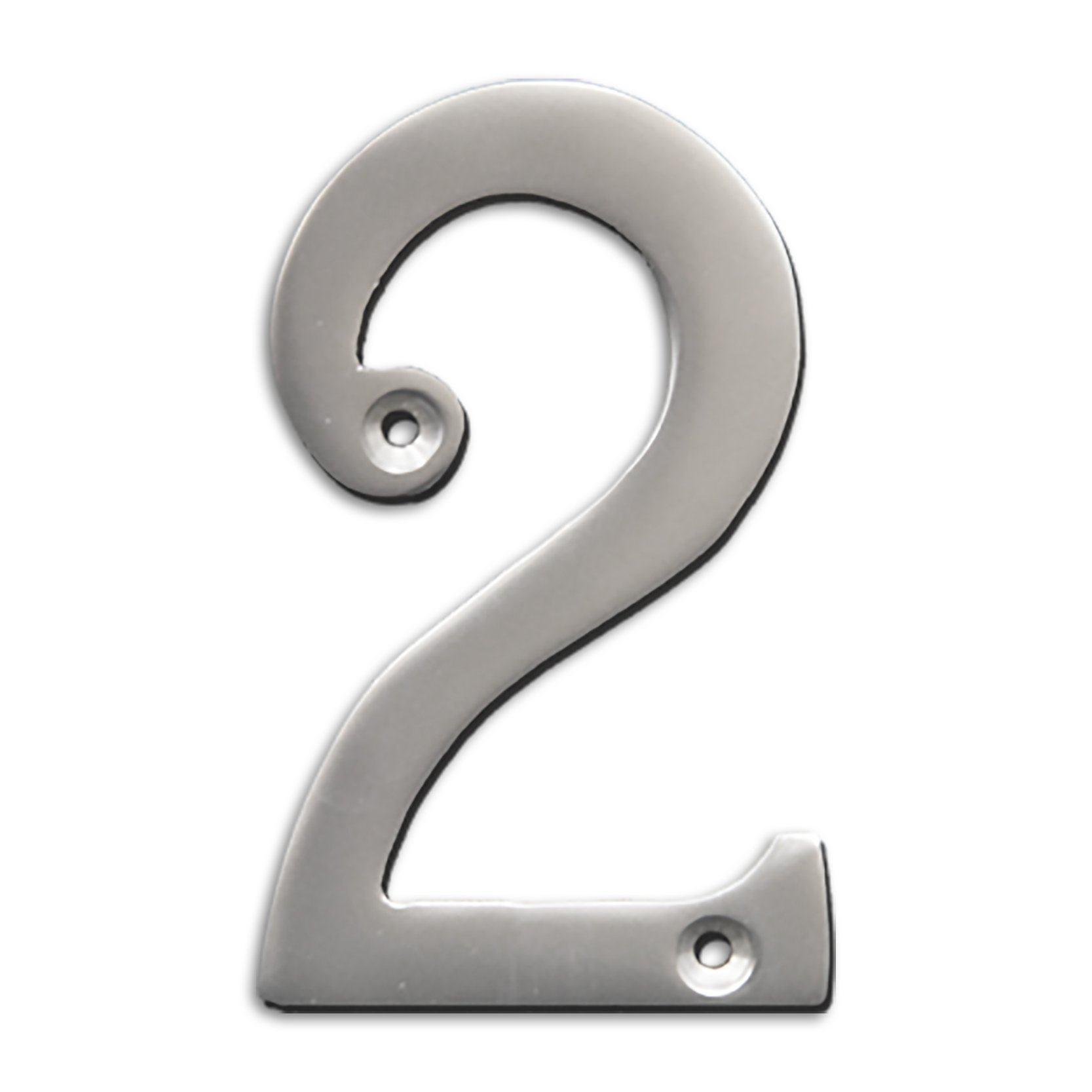 RCH Hardware Solid Brass 4'' Tall House Number 2, Satin Chrome Matte Silver Matching Screws Included by RCH Hardware