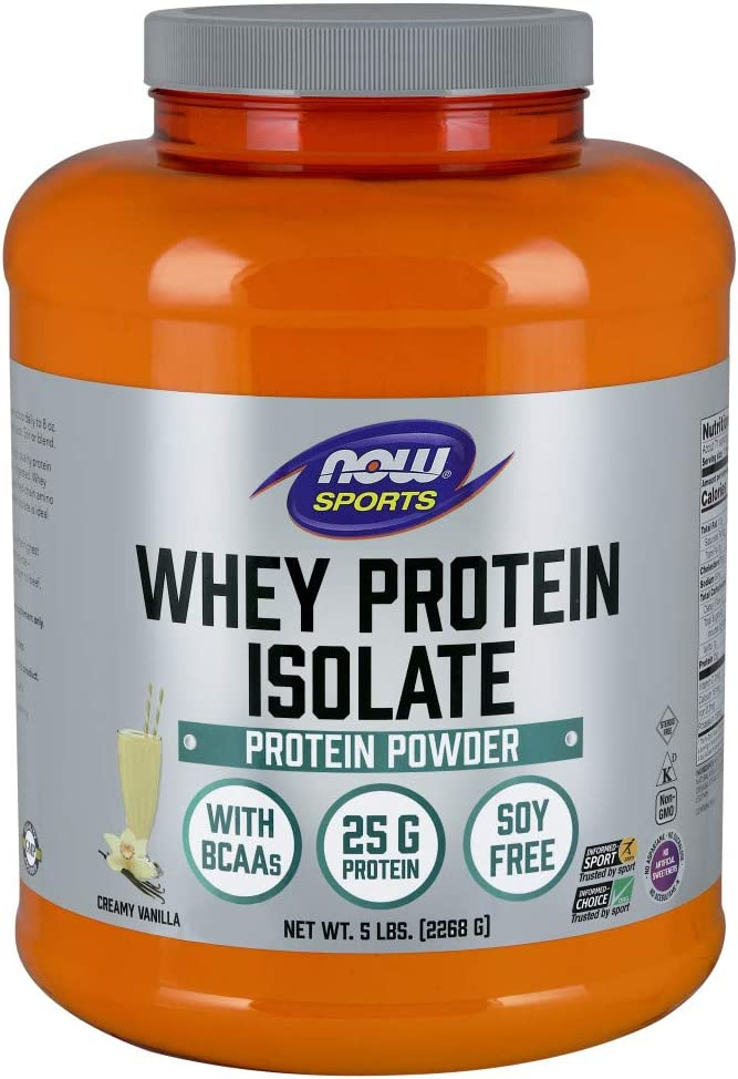NOW Sports Nutrition, Whey Protein Isolate, 25 G With BCAAs, Creamy Vanilla Powder, 5-Pound: Health & Personal Care