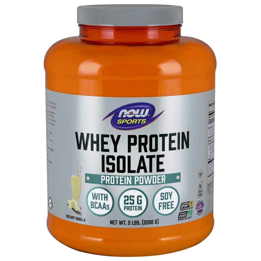 NOW Sports Nutrition, Whey Protein Isolate Powder, Creamy Vanilla, 5-Pound by Now Sports
