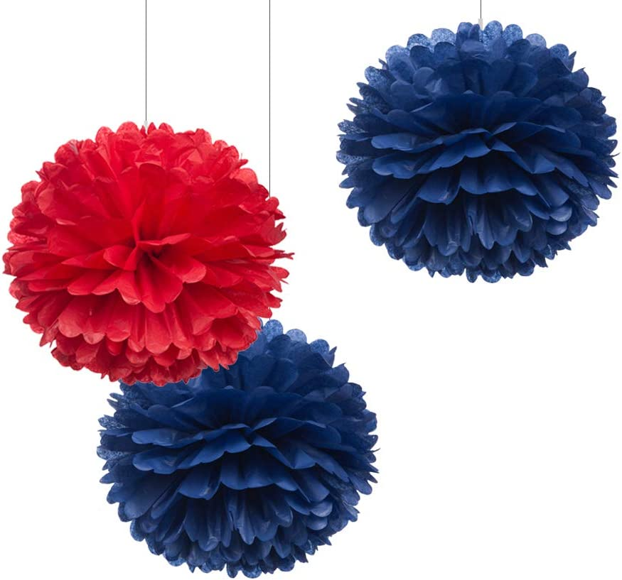 Amazon Com 12 Navy Blue Red Tissue Pom Poms Diy Paper Flowers Ceiling Hanging Decorations Nautical Themed Birthday Party Dessert Table Decoration Supplies Pack Of 12 Health Personal Care